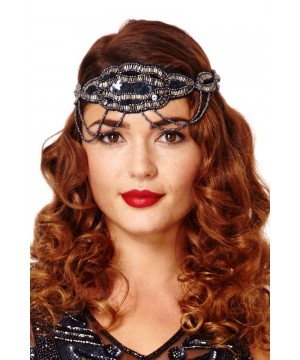 Flapper Style Headband in Navy Silver