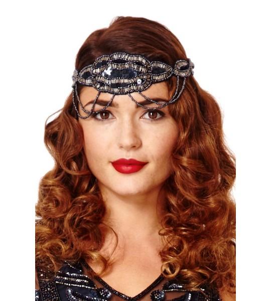 Flapper Style Headband in Navy Silver