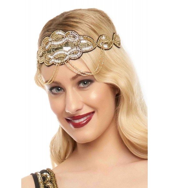 Flapper Style Headband in Black Gold
