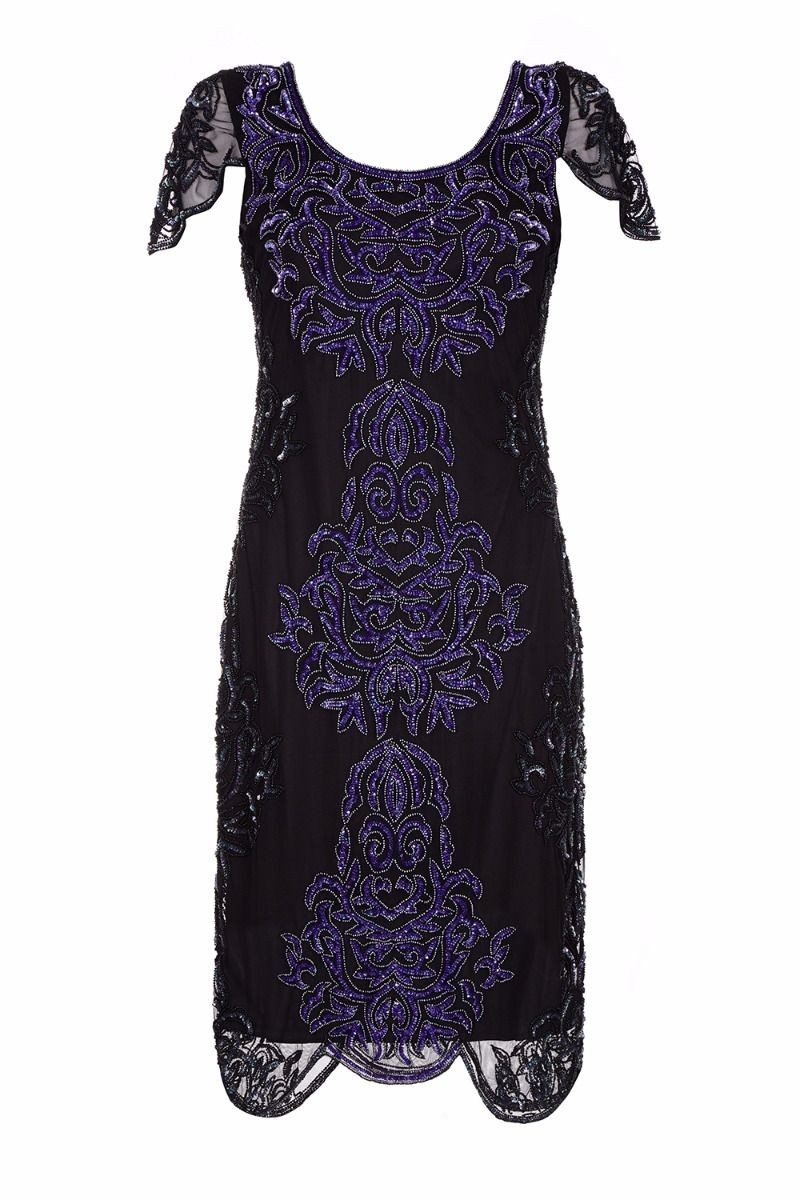 Great Gatsby Style Party Dress in Black Purple