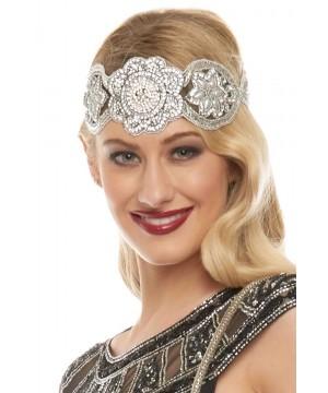 Roaring 20s Style Headband in Silver Black