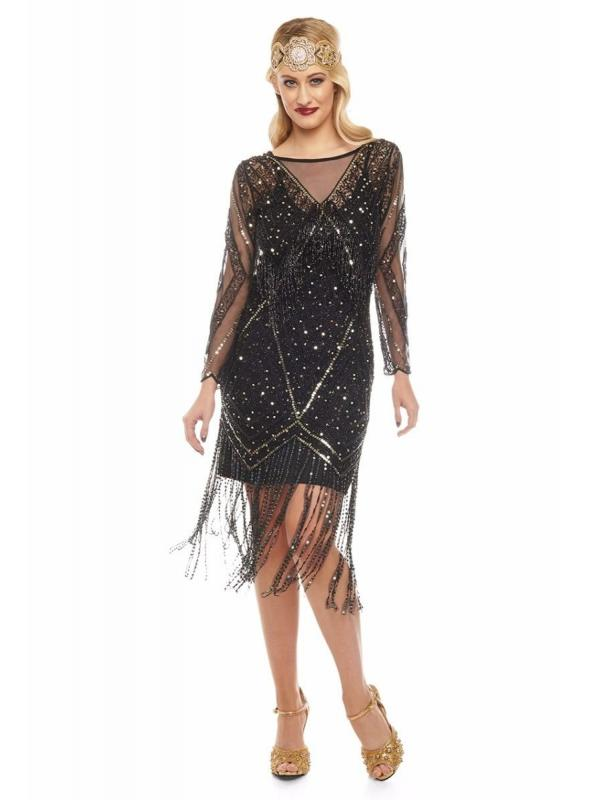 Charleston Fringe Party Dress in Black