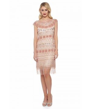 Great Gatsby Inspired Fringe Dress in Champagne Blush