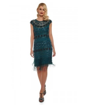 Great Gatsby Inspired Fringe Dress in Forest Green