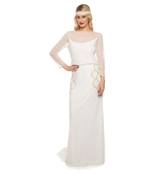 Great Gatsby Wedding Gown in White Gold