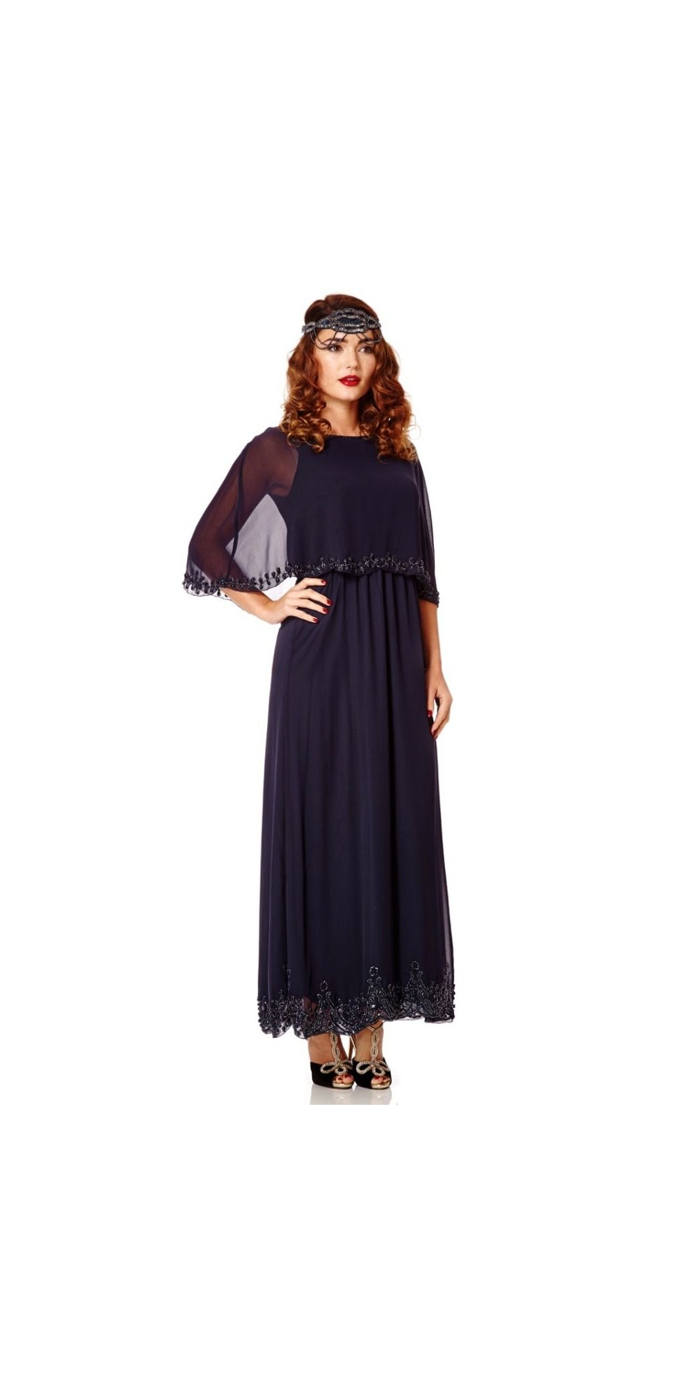 Cape dress maxi plus