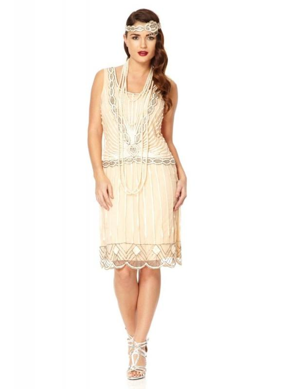 Gatsby Style Cocktail Party Dress in Nude