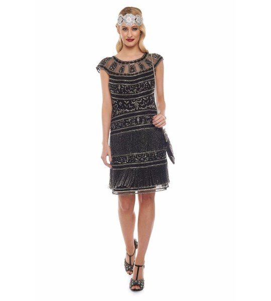 Roaring Twenties Fringe Party Dress in Black Silver