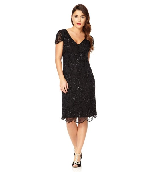 1920 Style Beaded Dress in Black
