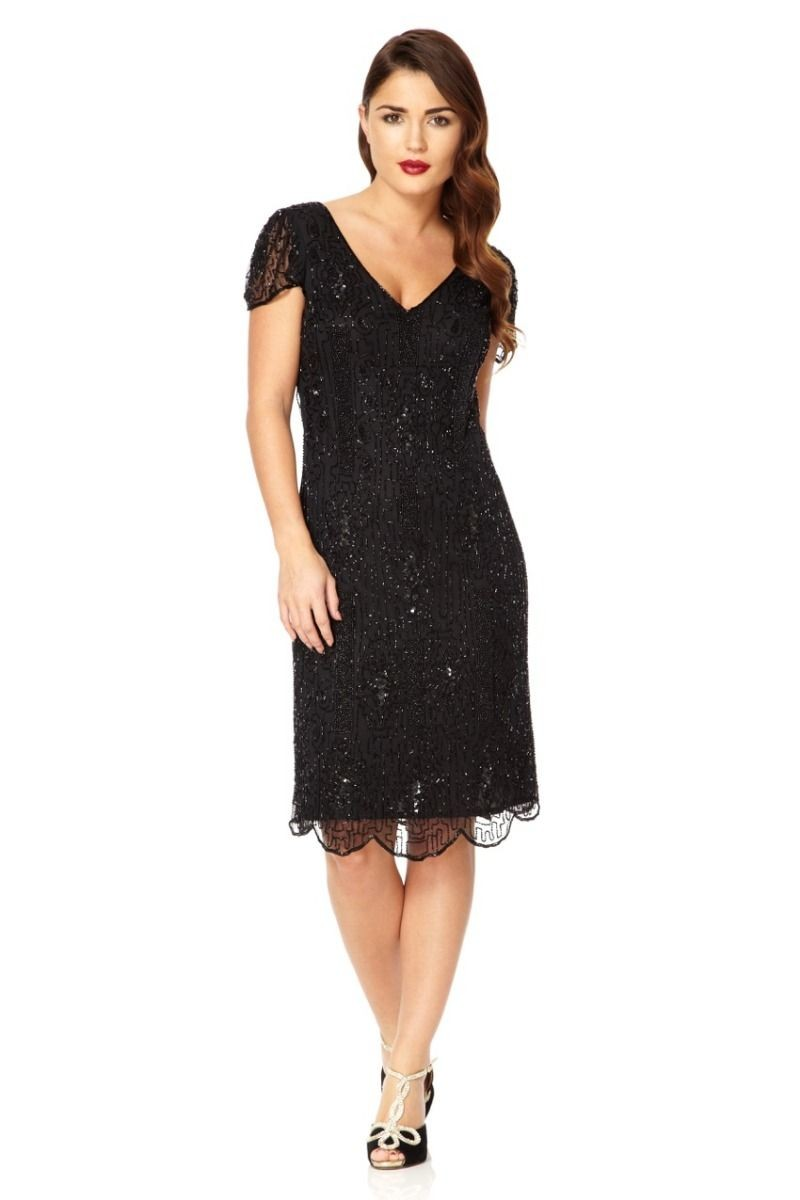 This Vintage Inspired Beaded Dress In Black Manages To Evoke The 1920s Fler Era While Reading As Conservative Enough For 1950s