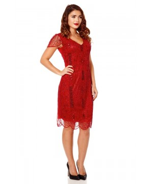 1920 Style Beaded Dress in Red