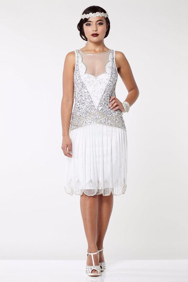 Vintage Inspired Drop Waist Dress in Off White
