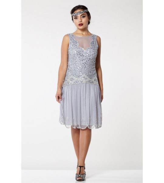 Vintage Inspired Drop Waist Dress in Lilac