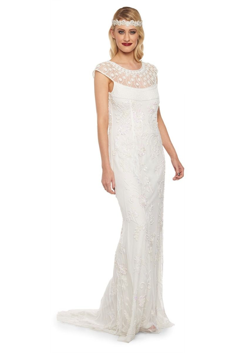Art Nouveau Maxi Dress in Off White