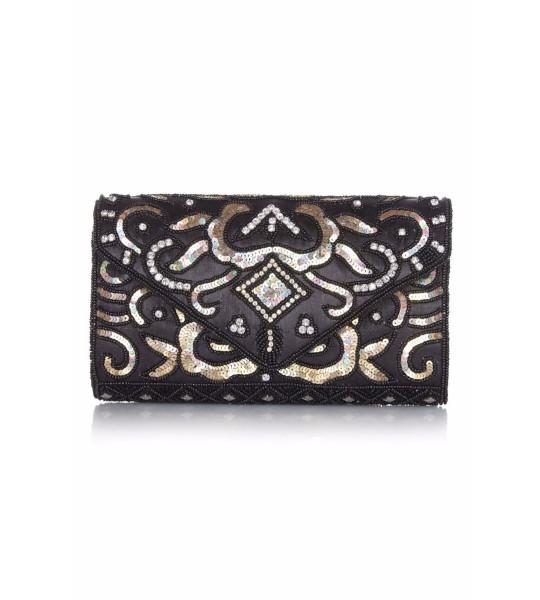 Vintage Inspired Embellished Clutch Bag in Black Gold