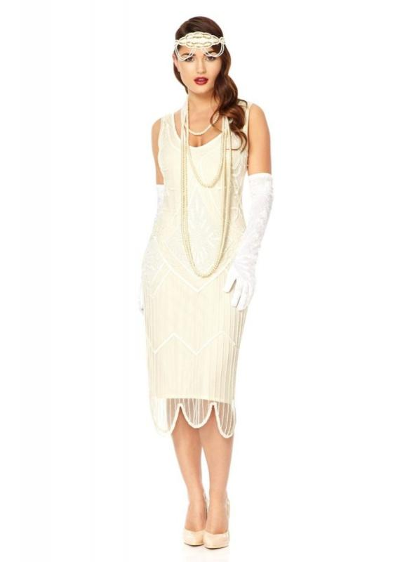 Flapper Inspired Wedding Dress in Off White