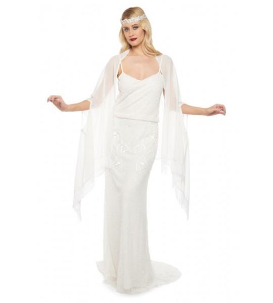 1920s Style Fringe Shawl in Off White