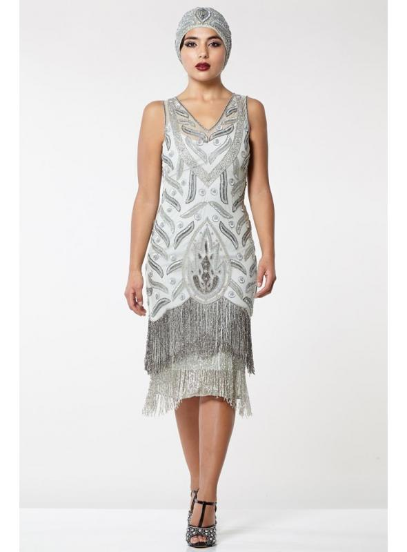 Old Hollywood Fringe Dress in Grey Silver