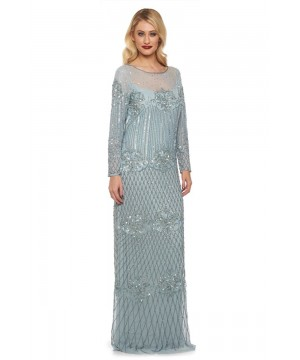 85bd56d3408b 1920s Inspired Evening Maxi Dress in Vintage Blue 1920s Inspired Evening  Maxi Dress in Vintage Blue