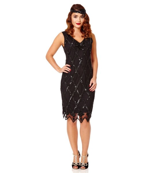 Flapper Style Sequined Dress in Black Gold