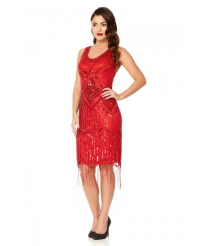 Art Deco Fringe Party Dress in Red