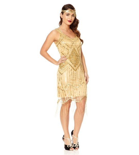 Art Deco Fringe Party Dress in Gold