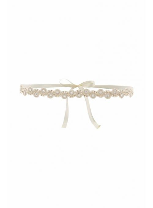 Great Gatsby Hand Beaded Sash in Ivory Silver