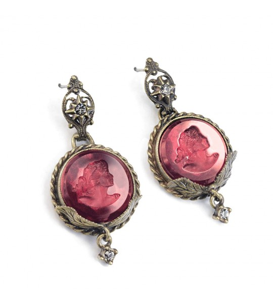 Victorian Round Intaglio Earrings in Garnet