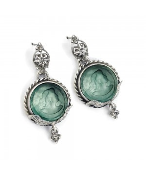 Victorian Round Intaglio Earrings in Green