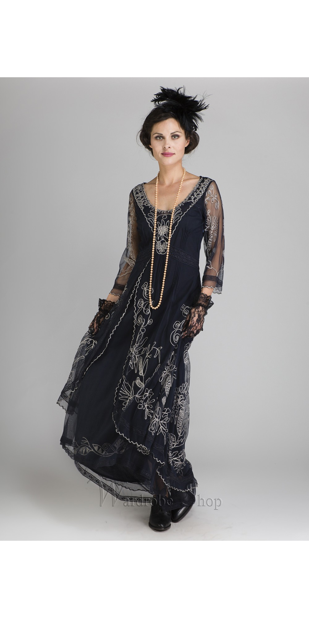 Edwardian Style Clothing Downton Abbey Tea Party Gown in Sapphire by Nataya  $250.00 AT vintagedancer.com