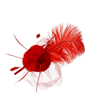 1920s Style Long Feather Fascinator in Red