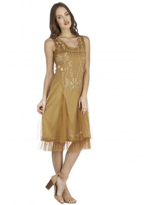 Age of Love Tara AL-254 Vintage Style Party Dress in Bronze by Nataya