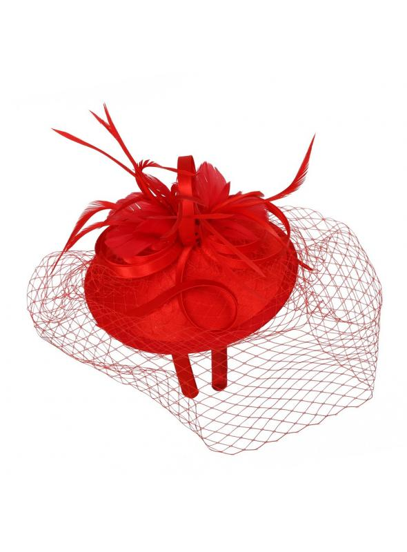 1920s Style Fascinator with Mesh Veil in Ping