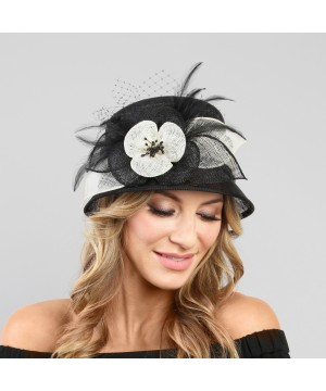 1920s Flapper Sinamay Hat in Black/White