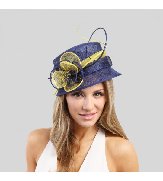 Cloche Flower Sinamay Hat Blue