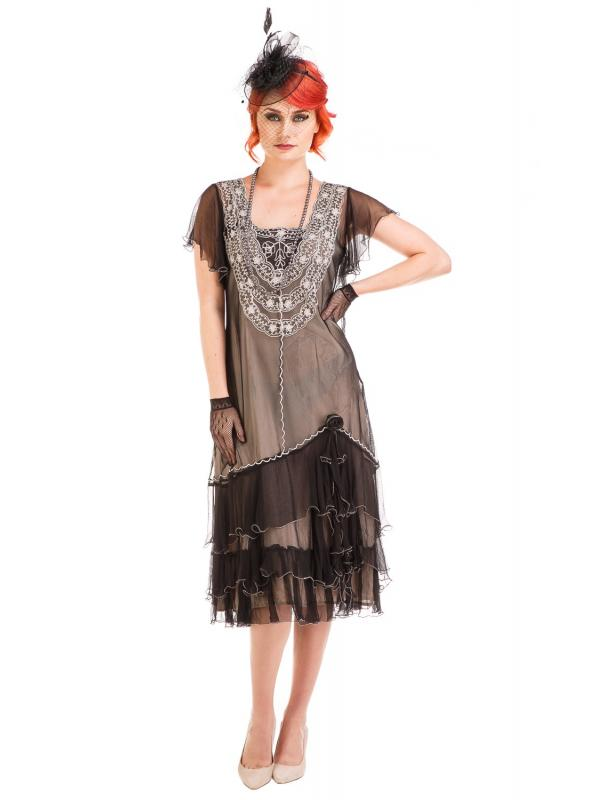 Age of Love Alexa 1920s Flapper Style Dress in Black/Silver by Nataya