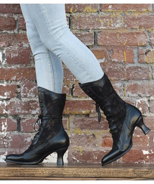 Jennie Victorian Inspired Leather & Lace Boots in Black by Oak Tree Farms