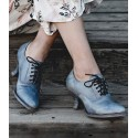 Victorian Style Leather Lace-Up Shoes in Steel Blue