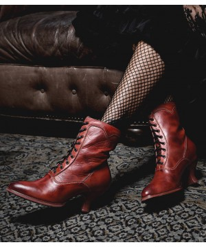 Victorian Style Leather Ankle Boots in Red Rustic by Oak Tree Farms