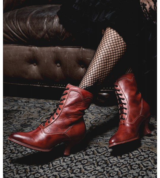 Eleanor Victorian Style Leather Ankle Boots in Red Rustic by Oak Tree Farms