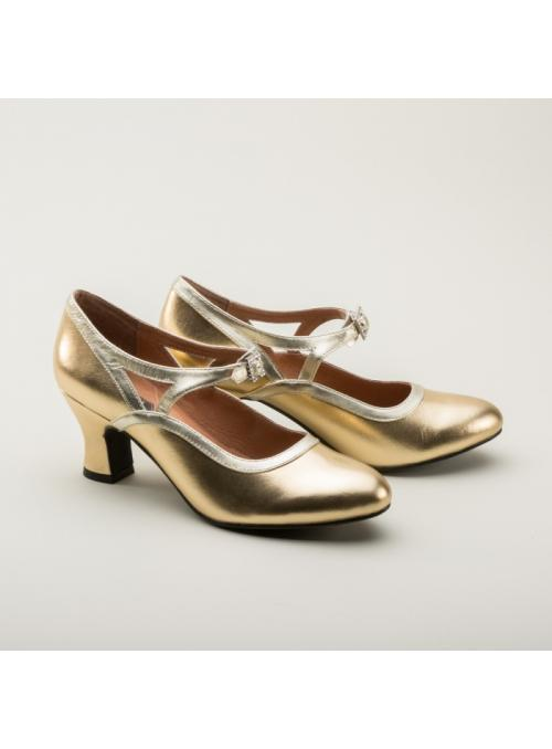 Roxy 1920s Flapper Shoes in Gold by Royal Vintage Shoes