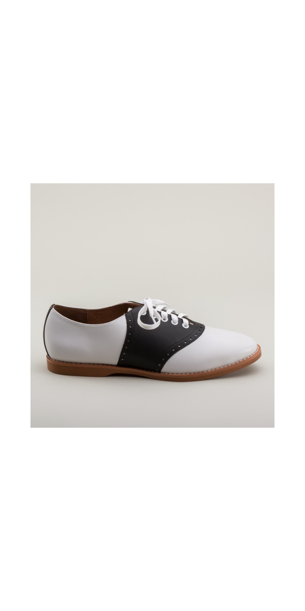 8e78d699b5dc3c Susie Classic Saddle Shoes in Black White by Royal Vintage Shoes