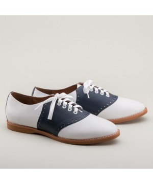 Susie Classic Saddle Shoes in Blue/White by Royal Vintage Shoes