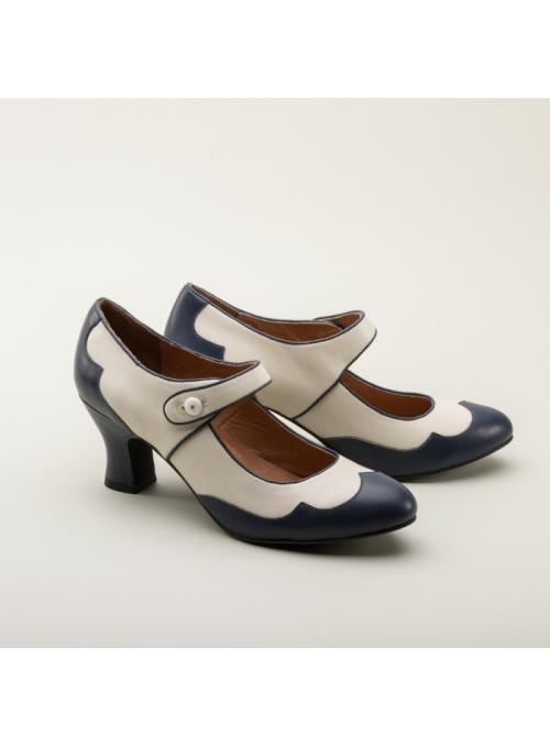 Lillian Retro Shoes in Navy/Ivory by Royal Vintage Shoes