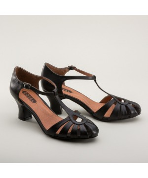 Eve Art Deco Sandals in Black by Royal Vintage Shoes