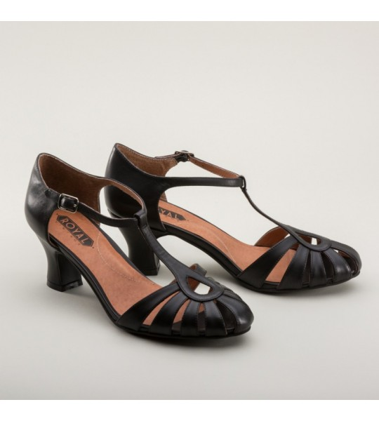 Eve Art Deco Sandals in Black by Royal Vintage Shoes