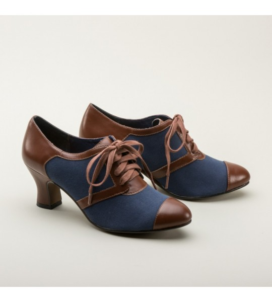 Evelyn Retro Oxfords in Navy/Brown by Royal Vintage Shoes