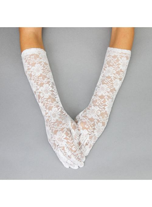 Sophisticated in Lace Vintage Gloves in White