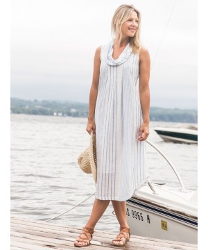 Romantic French Stripe Dress in Blue/Ecru by April Cornell