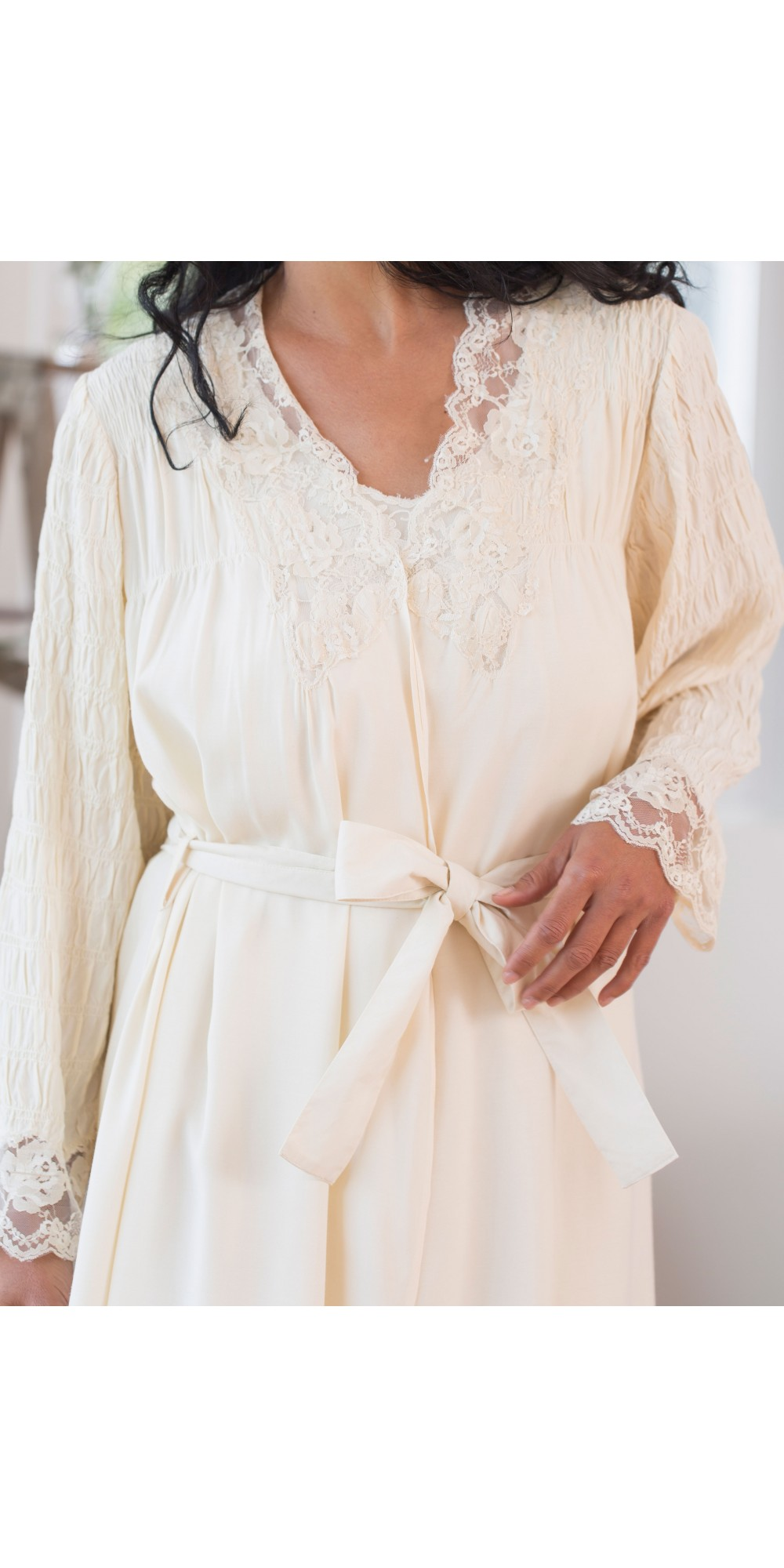 Vintage Inspired Dressing Gown in Ecru by April Cornell